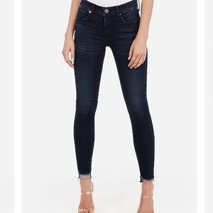 Mid rise denim perfect raw hem jeans with stretch